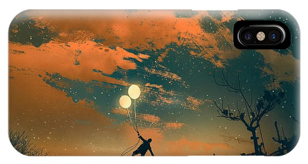 Space iPhone Case - Man Flying With Balloon Lights At by Tithi Luadthong