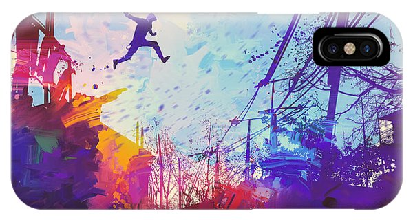 Rooftops iPhone Case - Man Jumping On The Roof In City With by Tithi Luadthong
