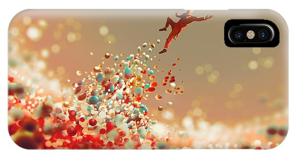 Celebration iPhone Case - Man Jumping Up From Lot Of Colorful by Tithi Luadthong