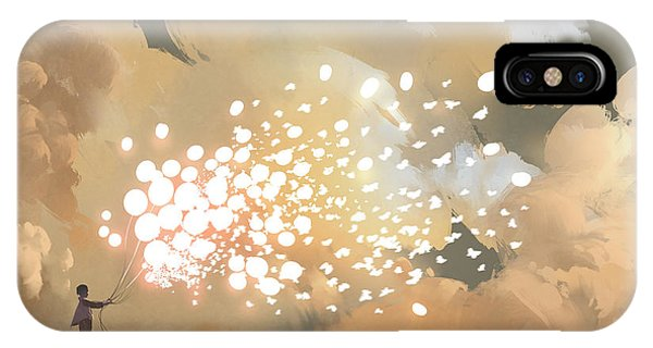 Celebration iPhone Case - Man Releasing Glowing Balloons And by Tithi Luadthong