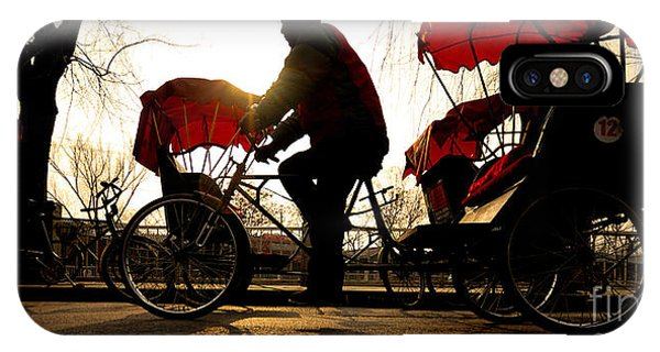 Dusk iPhone Case - Man Riding A Rickshaw by Rawpixel.com