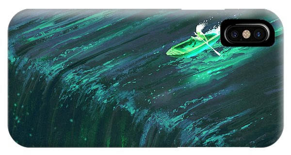 River Flow iPhone Case - Man Rowing In Glowing Green Boat Near by Tithi Luadthong