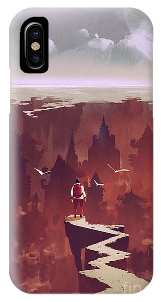 Red Rock iPhone X Case - Man Standing On Rock Path Looking At by Tithi Luadthong
