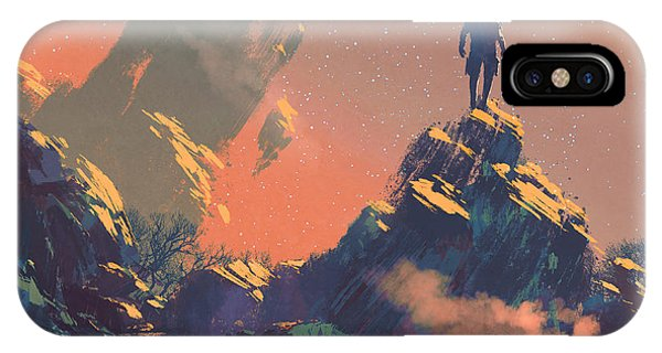 Space iPhone Case - Man Standing On Top Of The Hill by Tithi Luadthong