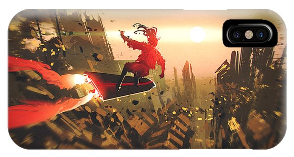 Rooftops iPhone Case - Man Surfing In The Sky,illustration by Tithi Luadthong