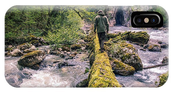 Discovery iPhone Case - Man Traveler Crossing River On Log by Everst