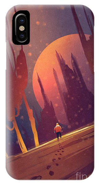 Space iPhone Case - Man Walking In Unusual by Tithi Luadthong