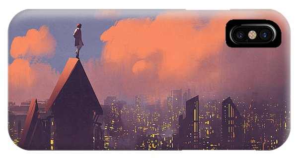 Rooftops iPhone Case - Man Watching Over The City,illustration by Tithi Luadthong