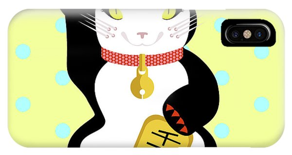 Good Humor iPhone Case - Maneki Neko Lucky Cat by Claire Huntley