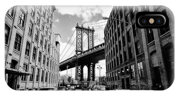 Old Building iPhone Case - Manhattan Bridge Seen From A Brick by Youproduction