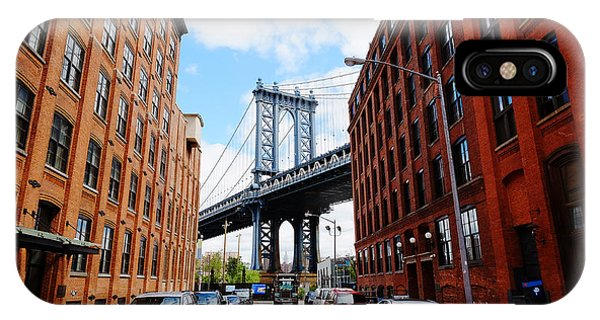Office Buildings iPhone Case - Manhattan Bridge Seen From A Red Brick by Youproduction
