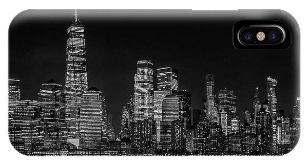 iPhone Case - Manhattan Nyc Skyline Twilight Bw by Susan Candelario