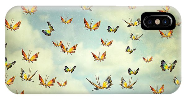 Flight iPhone Case - Many Colorful Butterflies Flying Into by Valentina Photos