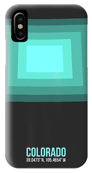 Rocky Mountain iPhone Case - Map Of Colorado Teal by Naxart Studio