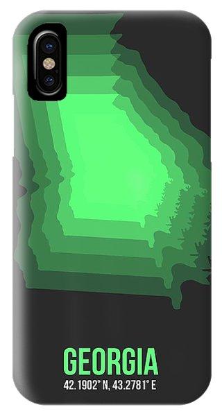 Georgia iPhone Case - Map Of Gergia by Naxart Studio