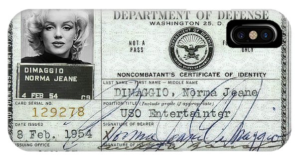 Leading Actress iPhone Case - Marilyn Monroe Dept Of Defense Identification Card 1954 by Daniel Hagerman