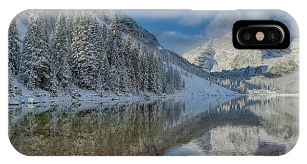 IPhone Case featuring the photograph Maroon Bells Reflection In The Maroon Lake With Fresh Snow Aspen Colorado Usa. by OLena Art Brand