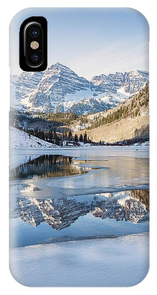 IPhone Case featuring the photograph Maroon Bells Reflection Winter by Nathan Bush