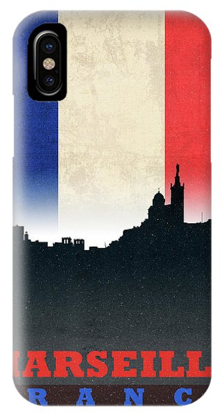 French iPhone Case - Marseille France City Skyline Flag by Design Turnpike