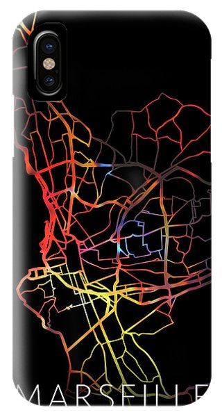 French iPhone Case - Marseille France Watercolor City Street Map Dark Mode by Design Turnpike