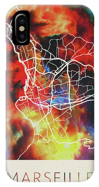 French iPhone Case - Marseille France Watercolor City Street Map by Design Turnpike