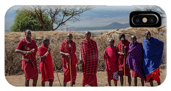 IPhone Case featuring the photograph Maasai Men by Thomas Kallmeyer