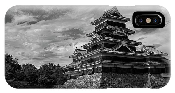 Medieval iPhone Case - Matsumoto Castle Japan Black And White by Ivan Krpan
