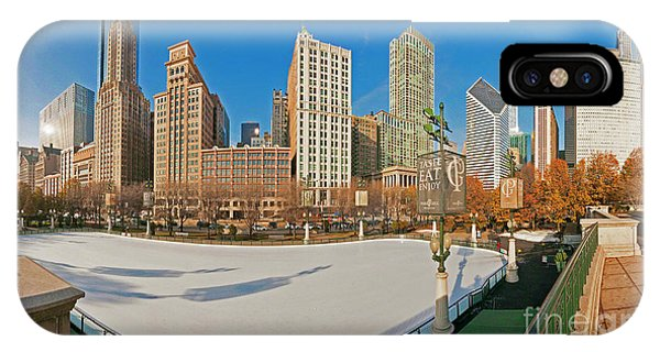 Mccormick Tribune Plaza Ice Rink And Skyline   IPhone Case