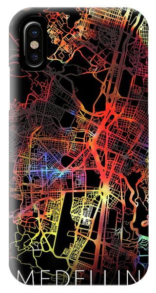 Colombian iPhone Case - Medellin Colombia Watercolor City Street Map Dark Mode by Design Turnpike