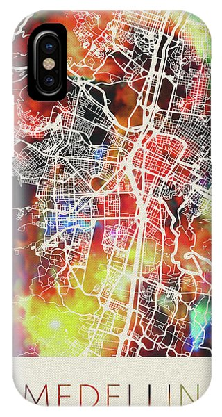 Colombian iPhone Case - Medellin Colombia Watercolor City Street Map by Design Turnpike