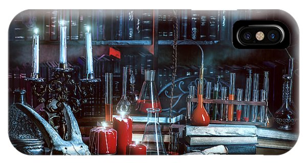 Old Fashioned iPhone Case - Medieval Alchemist Laboratory by Kiselev Andrey Valerevich