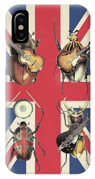1960s iPhone Case - Meet The Beetles - Union Jack by Eric Fan