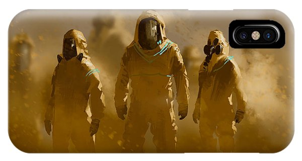 Danger iPhone Case - Men In Protective Suit,outbreak by Tithi Luadthong