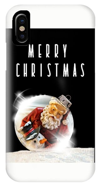 IPhone Case featuring the mixed media Merry Christmas Santa And Snow by Rachel Hannah
