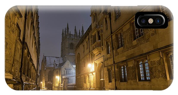 IPhone Case featuring the photograph Merton Street Oxford In Winter Before Dawn by Tim Gainey