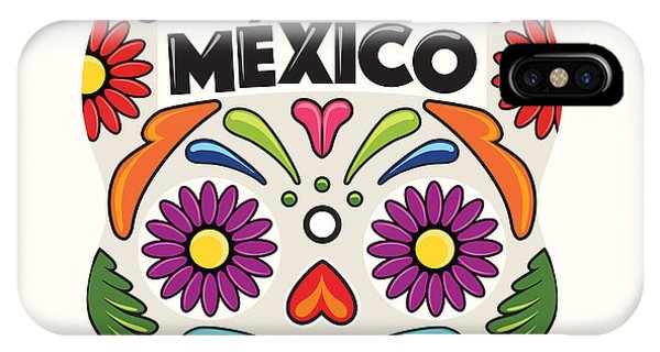 Art And Craft iPhone Case - Mexican Holiday Skull by Akbaly