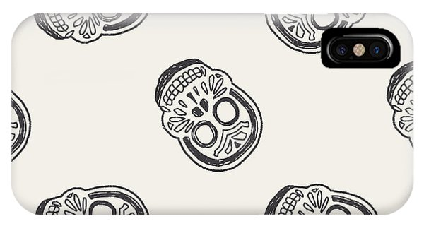 Death iPhone Case - Mexican Skull Doodle Seamless Pattern by Hchjjl