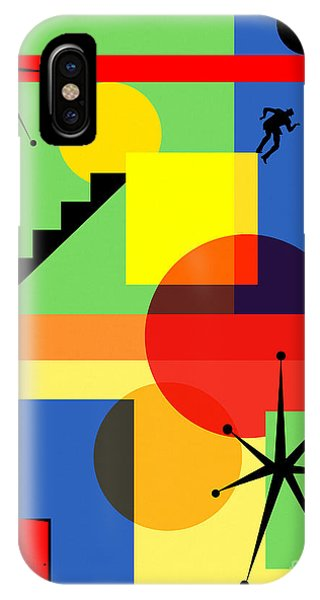 IPhone Case featuring the digital art Mid Century Modern Abstract Over The Edge 20190106 by Wingsdomain Art and Photography