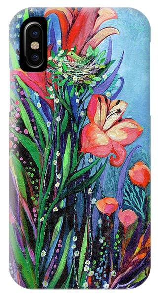 Hummingbird iPhone Case - Midnight Garden by Jennifer Lommers
