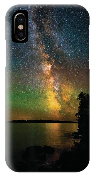 IPhone Case featuring the photograph Milky Way And Northern Lights Over Isle Royale by Owen Weber