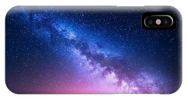 Space iPhone Case - Milky Way And Pink Light At Mountains by Denis Belitsky