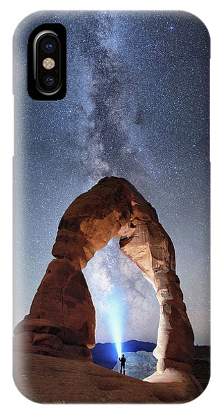 IPhone Case featuring the photograph Milky Way Night Sky In Moab Arches National Park \ by OLena Art Brand