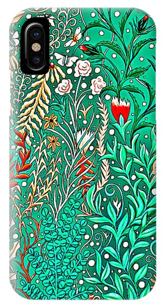 Millefleurs Home Decor Design In Brilliant Green And Light Oranges With Leaves And Flowers IPhone Case