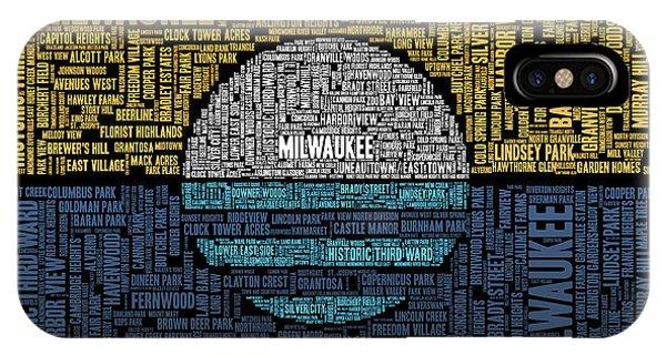 Midwest iPhone Case - Milwaukee Neighborhood Word Cloud by Scott Norris