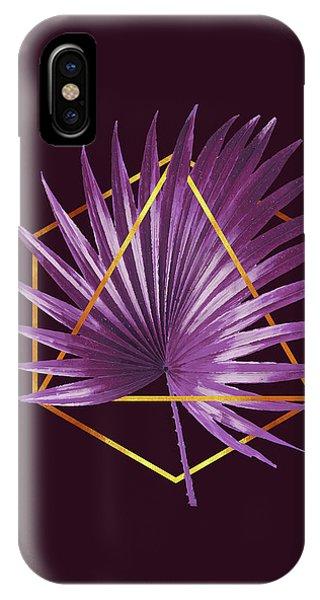 Violet iPhone Case - Minimal Tropical Palm Leaf - Palm And Gold - Gold Geometric - Modern Tropical Wall Art - Purple 2 by Studio Grafiikka
