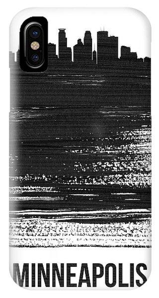 Minnesota iPhone Case - Minneapolis Skyline Brush Stroke Black by Naxart Studio
