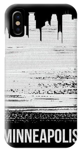 Minnesota iPhone Case - Minneapolis Skyline Brush Stroke White by Naxart Studio