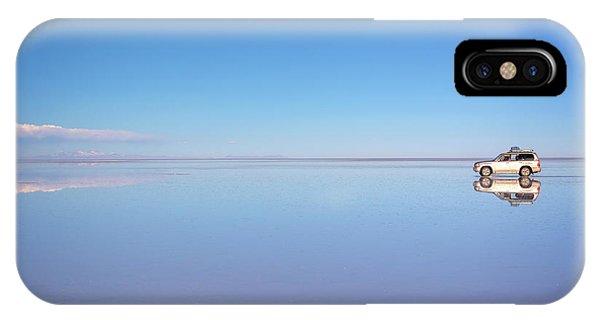 Salt Water iPhone Case - Miror Effect In Salar De Uyuni, Bolivia by Delphimages Photo Creations