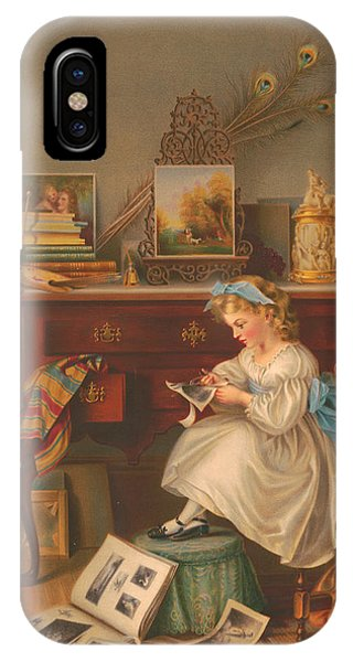 iPhone Case - Miss Oakley Making The Scrapbook 1866 by Zal Latzkovich