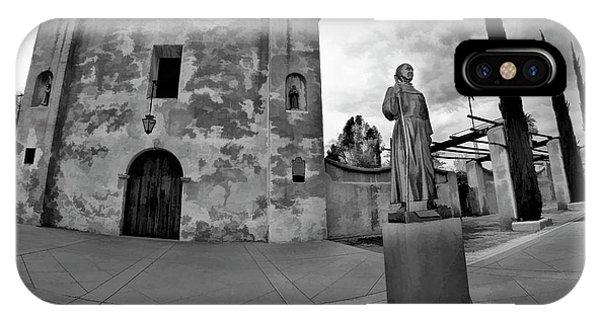 San Gabriel Mission iPhone Case - Mission San Gabriel San Gabriel Ca Black And White by Blake Richards